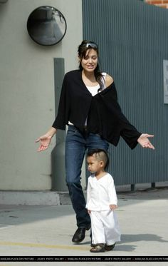 Angelina & Maddox stroll near apartment in Beverly Hills