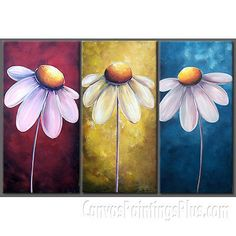 """3 Panel Daisy Flower Large Wall Art Oil Painting on Canvas 14"""" x 28"""" X3PC 