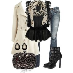 Love this rocker chic going to a concert look. But it makes it a little sweet with the off white flared pea coat.