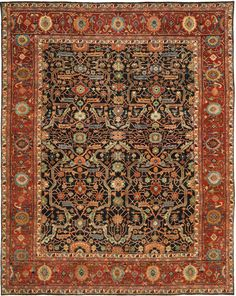 RLR9551B Richmond Rug from Ralph Lauren collection.  Rich in history, the Richmond area rug from Ralph Lauren Rugs was inspired by a 19th century Farahan Sarouk carpet. Renowned for their interesting counterp