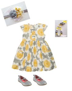 Girl's Style - Yellow and Grey.  Dress and shoes on sale and coupon code available today. #tinystyle #girls #fashion #clothes #yellowandgrey