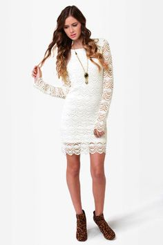 Black Sheep Tasha Drses - Ivory Dress - Lace Dress - $110.00