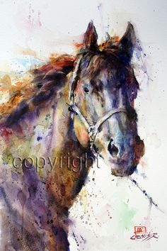 COLORFUL HORSE 8 x 12 Abstract Watercolor Print by DeanCrouserArt, $25.00