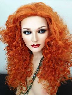 Brave Merida, New Long Orange, Wavy Cosplay Party Synthetic Wig