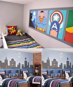 Boys room ideas - Boys bedroom ideas - Boy room decor - Little Boys Room Decorating Ideas | Bedroom Design  This would be really cool to do for Callie's room. Avengers, SHIELD members, and Superfriends. I love the style of artwork in the top photo.