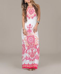 Ivory & Red Abstract Halter Maxi Dress