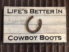saltandlightsigns.com  Wooden cowboy country horseshoe sign