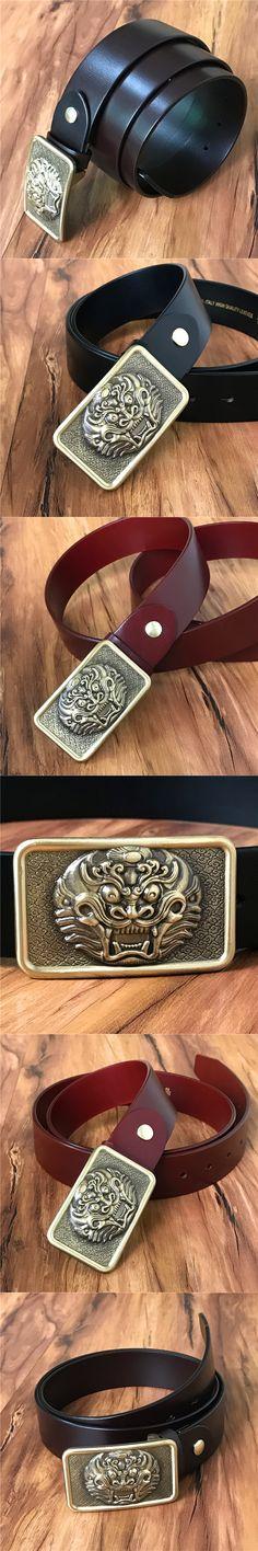Genuine Leather Men Belt Vintage Chinese Style Belt Buckle Ceinture Homme Luxury Cinturones  hombre Cowboy Jeans Belt MBT0379