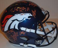 1589b34e30b 2015 Denver Broncos team signed Riddell full size speed football helmet w   proof photo.