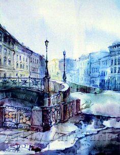 Bridge, St.Petersburg - Print of Original Artwork by Yury Tarler, Europe architecture watercolor aquarelle bridge landscape street light canal white blue violet fog