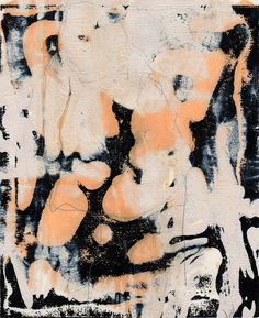 Monotype   Black Orange white  abstract figure by CKFineArt