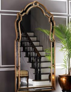 Gray + Gold!!!  LOVE this mirror and metallic planter!!!!!!!!!!!!!!!!