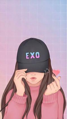 Cute Girl Drawing, Cartoon Girl Drawing, Cute Girl Wallpaper, Bear Wallpaper, Cartoon Girl Images, Girl Cartoon, Wallpaper Qoutes, Anime Korea, Emo Anime Girl