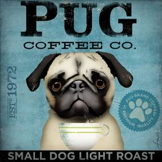 PUG dog Coffee Company original illustration graphic artwork giclee archival print by Stephen Fowler Pick A Size on Etsy, $24.00