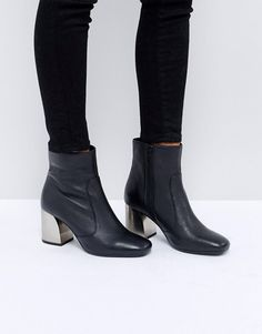 ac297abc770086 ASOS REGRET Leather Ankle Boot Black Ankle Boots