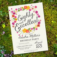 Floral Eightieth Birthday Invitation - 80th birthday invitation - Instant Download and Edit with Adobe Reader - Print at Home! by SunshineParties on Etsy https://www.etsy.com/listing/195646532/floral-eightieth-birthday-invitation