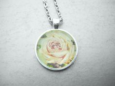 Vintage Rose Necklace Rose Pendant White by CrystalynsPaperWorks, $13.00