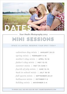 Mini Session Save the Date Marketing Card Template for your Photography Studio #photographer #template