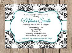 Bridal Shower Invitation Printable  Black and by VividLaneDesigns, $14.00