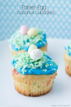 Easter Egg Coconut Cupcakes- simple and fun Easter treat for kids and adults