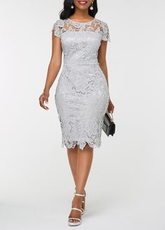 Dresses For Women Latest African Fashion Dresses, African Dresses For Women, Dress Fashion, Fashion Outfits, Lace Dress With Sleeves, Lace Sheath Dress, High Low Lace Dress, African Lace Styles, Lace Dress Styles