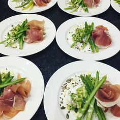 Avocado, asparagus and parma ham salad starter
