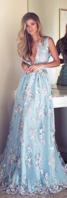 Wedding Dresses Inspiration : Something blue wedding dress – Lurelly Bridal Floral Prom Dresses, Blue Wedding Dresses, Blue Dresses, Summer Dresses, Formal Dresses, Wedding Blue, Trendy Wedding, Dresses Dresses, Dress Wedding