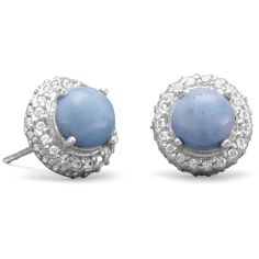 Rhodium Plated Round Larimar and CZ Earrings ($62) ❤ liked on Polyvore featuring jewelry, earrings, cubic zirconia stud earrings, cz stud earrings, rhodium plated jewelry, earring jewelry and round earrings