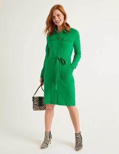 Women's Green Shirt, Jersey Shirt Dress, Boden Uk, Navy Women, Daily Wear, Green Dress, Dresses For Work, Cotton, Vestidos