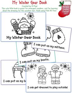 My Winter Gear Book emergent reader printable mini book.  So cute and created by N. Paul with our Kids All Year clip art
