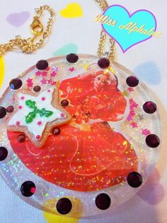 Barbie Christmas clear glitter resin necklace by missalphabet