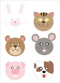 mascara gato cachorro porco rato urso para imprimir