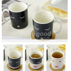 Wholesale Morning Ceramic Coffee Cup Smilling Face Color Changing Mug Cup