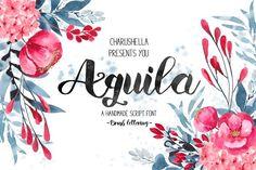 Aquila -Script font by Charushella on @creativemarket Brush Font, Brush Lettering, Lettering Design, Hand Lettering, Wedding Fonts, Wedding Invitations, Cute Fonts, Pretty Fonts, Beautiful Fonts