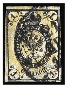 """1868 1k black & yellow, vertically laid paper, imperforate single with shifted background, cancelled """"Moscow, 21 February, 1872"""", excellent colors, ample margins all around, fresh and fine example of this rarity (only known used), with Mikulski cert. (Liapine 17XI) -- $7,500.00. 2011 year"""