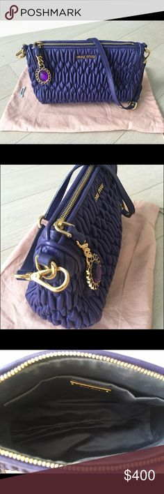 Miu Miu Matelasse leather purple small bag Matelasse soft lamb skin  -satin lined interior (very clean inside)  -zip top with purple jewel charm  -Miu Miu logo in gold hardware  -small scuff mark on one of the corners (not even visible!) -Miu Miu dustbag included  -Made in Italy Height : 5.5 inches / 14 cm  Width: 9 inches / 23 cm  Depth: 3.5 inches / 9cm Strap drop at its longest 10 inches / 26 cm Miu Miu Bags Shoulder Bags
