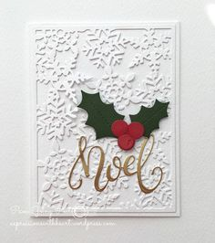 Snowflake background noel card! A little gold foiling will go a long way.