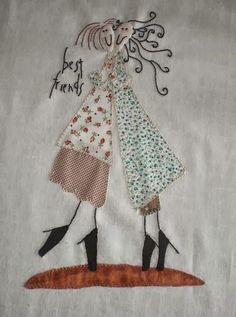 CosoQueTeCoso: Best friends Anni Downs Applique Patterns, Applique Quilts, Embroidery Applique, Cross Stitch Embroidery, Quilt Patterns, Machine Embroidery, Embroidery Designs, Quilting Projects, Quilting Designs