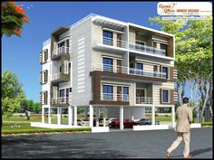 Modern Apartment Exterior Design  An Online Complete Architectural Solution Provider Company Click this link to view more details - http://www.apnaghar.co.in/search-results.aspx