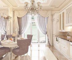 New living room decor elegant kitchens 30 Ideas Elegant Kitchens, Luxury Kitchens, Beautiful Kitchens, Luxury Curtains, Home Curtains, Window Treatments Living Room, Living Room Windows, Living Room Decor Elegant, Living Room Interior