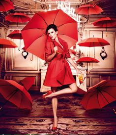 Penelope Cruz dazzels in gorgeous rich red fashions for the latest Campari Calender, photographed by Kristian Schuller Red Umbrella, Under My Umbrella, Clear Umbrella, Foto Cowgirl, Fashion Fotografie, Vogue Mexico, Ellen Von Unwerth, Umbrellas Parasols, Simply Red