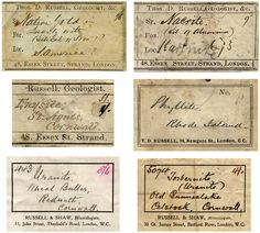 Thomas D. Russell specimen labels