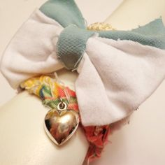 Holiday Sale Pastel Girly Bracelet Stack - Heart Charm and Bow.