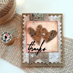 Sweet and shabby card to give your 'heart' felt thanks!