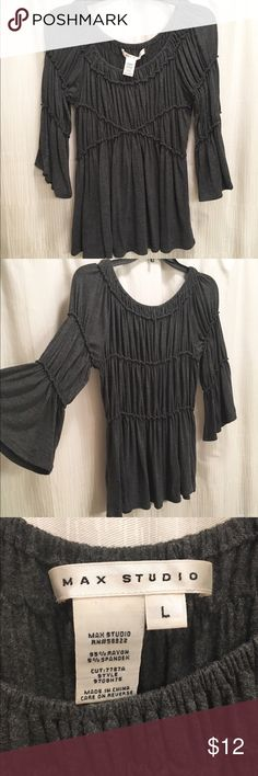 Max Studio Flowy Top Adorable charcoal grey Max Studio top. Bell sleeves are 3/4 length. Elastic trimming details makes this shirt very flowy and stretchy. Perfect condition! Not a super long shirt. Wide neck can also be worn off the shoulder for a different look. Max Studio Tops