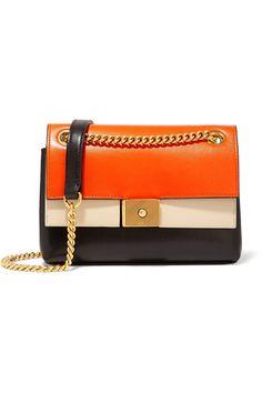 08a5d11676 Bright-orange, black and ecru leather (Calf) Clasp-fastening front flap