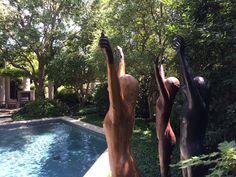 A trio of Celebration figures by Deborah Ballard in a Dallas garden!
