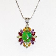7.4CTW Genuine Green Turquoise & Multistone .925 Sterling Silver Pendant  At a Highly Affordable Price... Very elegant and attractive
