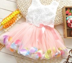 NEW Collection Baby Girl Rose Pink Petal Hem Dresses/Tutu/Occasion/Party/wedding
