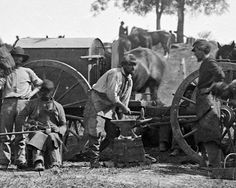 Antietam, Md. Blacksmith shoeing horses at headquarters, Army of the Potomac.    Photographed by Alexander Gardner.    Library of Congress image.